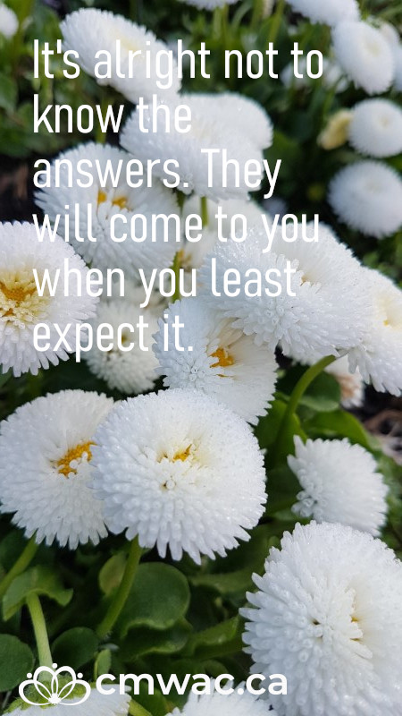 It's alright to not know the answers. They will come to you when you least expect it.