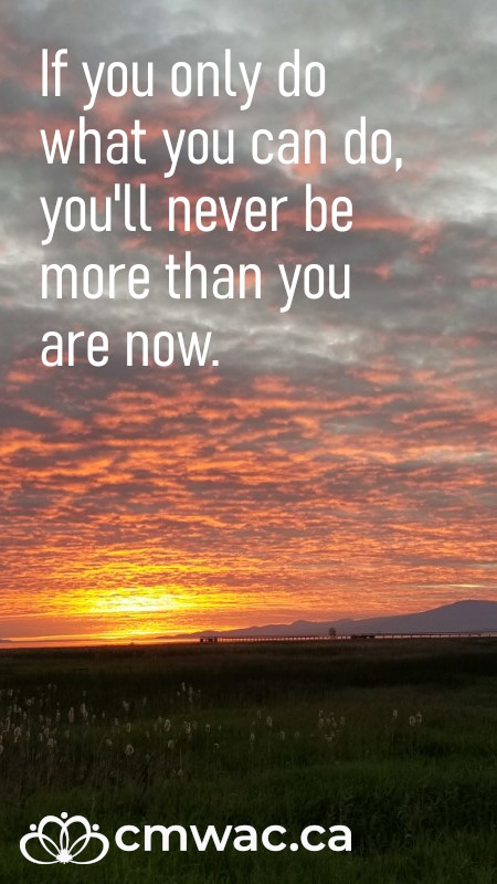 If you only do what you can do, you'll never be more than you are now.
